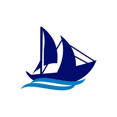 design simbolo yacht barca a vela tempo nave turismo icona del vettore astratto