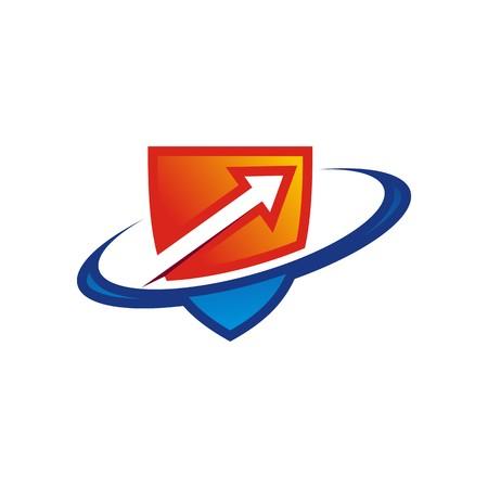 broken glass window: security shield symbol icon circle logo arrow Illustration