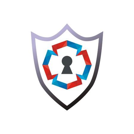 lock symbol: security shield symbol icon protected lock Illustration