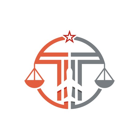 Law firm logo icon with vintage scale in balance symbol vector