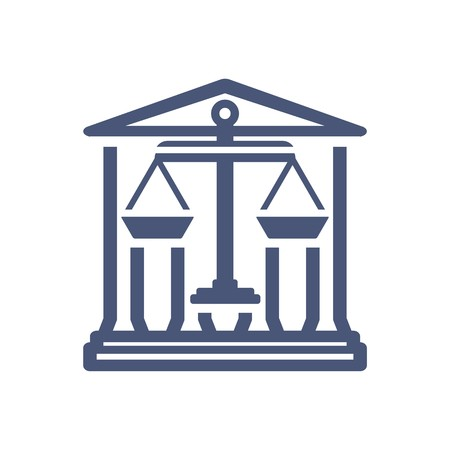 judicature: Law firm logo icon with vintage scale in balance symbol vector
