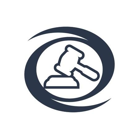 Logo projektu sędzia ikona młotek Prawo symbolem firmy