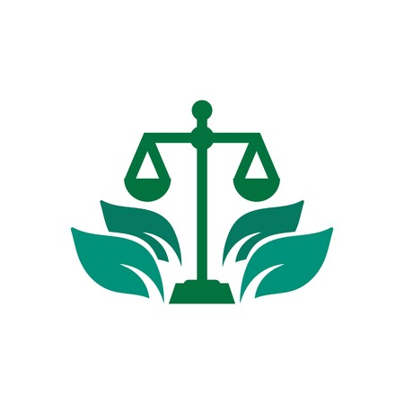 firm: Law firm logo icon with vintage scale in balance symbol vector