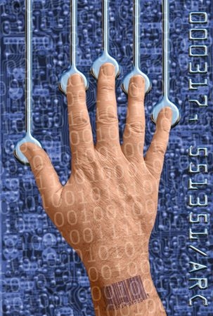 hand interfacing with technologyundergoing a biometric scan Stock Photo