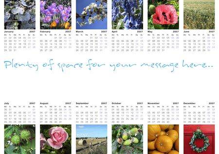 2007 year calendar, A3 size; 12 seasonal photographs included, plus work path to help you replace any or all of them with your own pictures; plenty of space to add your own business message.
