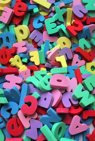 foam letters and numbers background