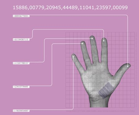 human hand interfacing with digital technologyhaving biometric scan