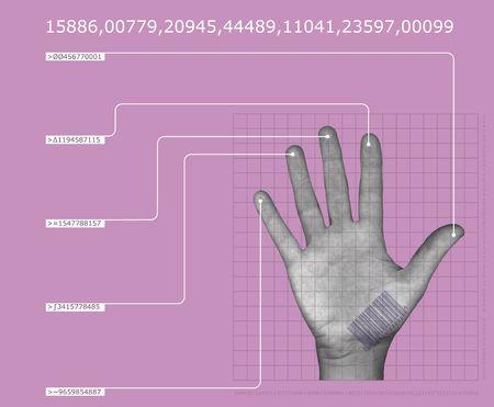 biometric: human hand interfacing with digital technologyhaving biometric scan