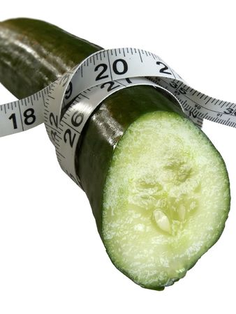 cucumber tied with tape measure