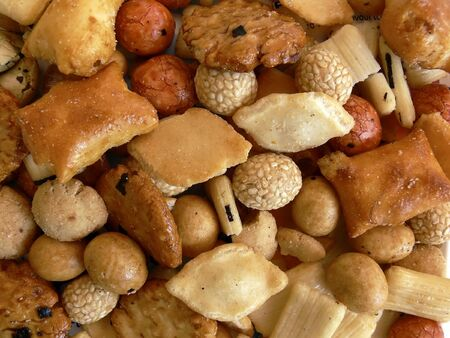 close-up of japanese rice crackers, suitable for background