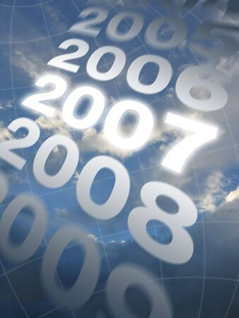 newyear: Years scrolling across a partially cloudy sky, seen through a spherical grid; 2007 is highlighted
