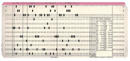 computer punchcard circa 1970s, used for data entry on early mainframe computers; on white ground