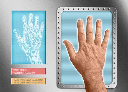biometric: hand interfacing with technologyundergoing a biometric scan Stock Photo