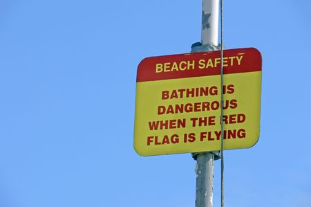 dangerous beach warning sign Stock Photo