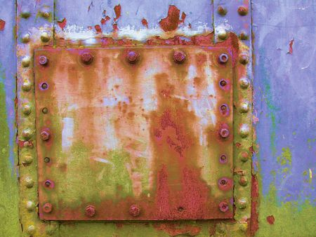 rusty iron platework and rivets