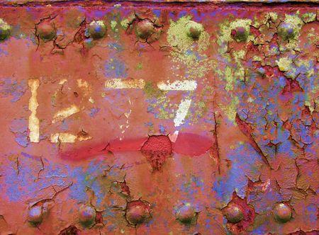 rusty iron platework and rivets Stock Photo - 665054