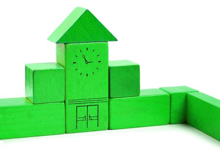 green factory made of vintage toy building blocks