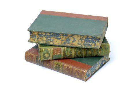 antiquarian: stack of three antiquarian books Stock Photo