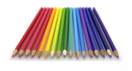 array of brightly-colored crayons in spectrum order