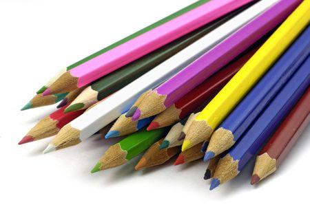 random array of brightly-colored crayons