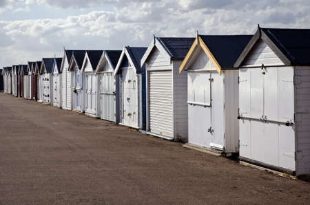 shutup: Row of beach huts; awaiting Spring - closed and shut-up ready for the new season