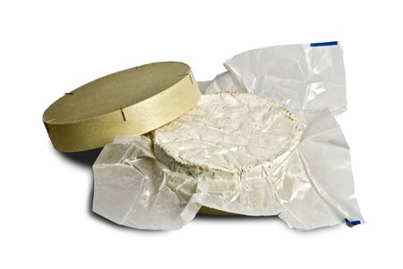 Camembert cheese in wax-paper wrapper and traditional wooden box; isolated on white ground Stock Photo