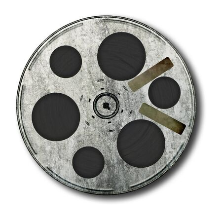 Movie film spool; very old and well-used; isolated on white ground  Stock Photo