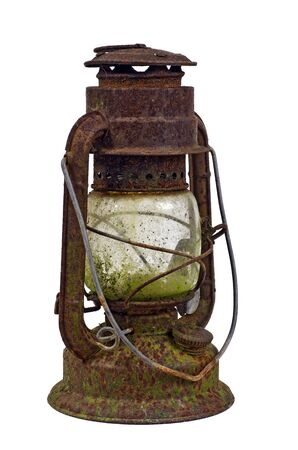 hurricane lamp: Hurricane lampstorm lantern; very corroded vintage kerosene lamp; isolated on white ground