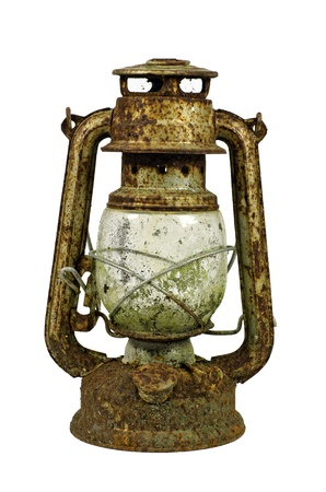 Hurricane lamp/storm lantern; very corroded vintage kerosene lamp; isolated on white ground Stock Photo - 9788769