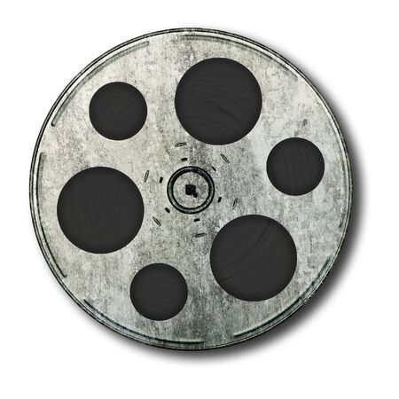 Movie film spool; very old and well-used; isolated on white ground