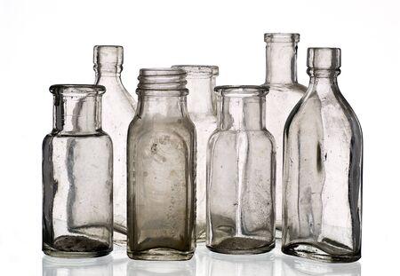 Vintage medicine bottles - isolated on white ground