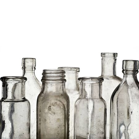 vintage objects: Vintage medicine bottles - isolated on white ground