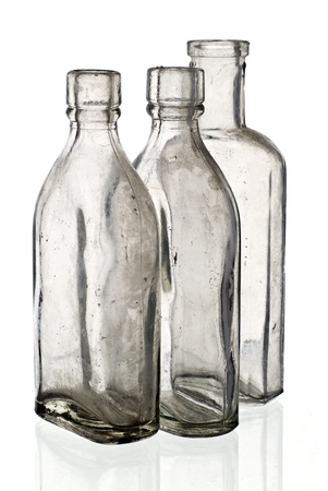 Vintage medicine bottles - isolated on white ground  Stock Photo - 9788682