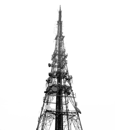 Telecomms towermast, isolated on white ground; good copy-space Stock Photo