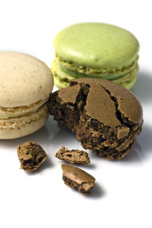 Macaroons; beautifully-coloured macaroons on a white ground photo