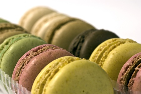 Macaroons; beautifully-coloured macaroons on a white ground Stock Photo - 9788902