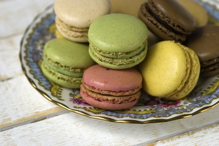 Macaroons; a plate of beautifully-coloured macaroons