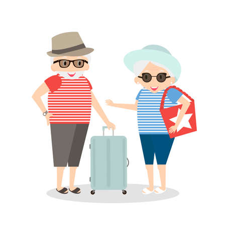 people traveling: Seniors happy traveling. Grandmother and grandfather on trip. Oldest people with suitcase on trip.