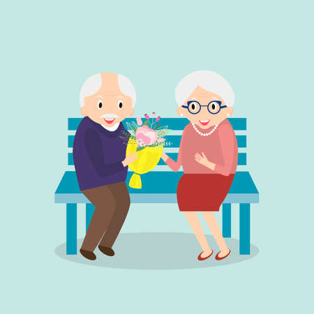 couple together: Old couple together. Seniors happy leisure. Grandpa and grandma sitting on the bench. Illustration