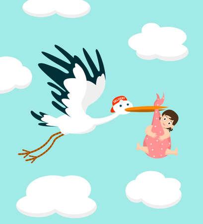 Storch trägt ein niedliches Baby. Neugeborenes. Vektorgrafik