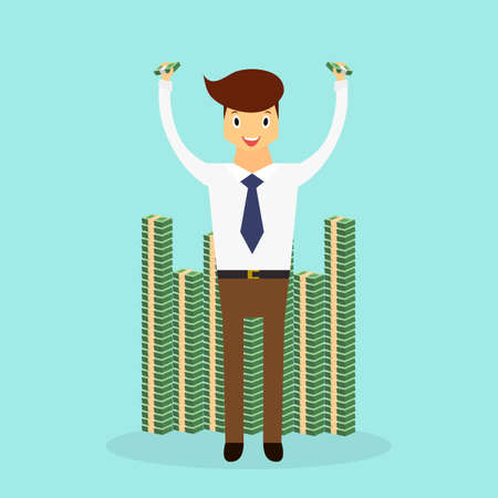 Successful business man standing near stack of money. Business character scene. Illustration
