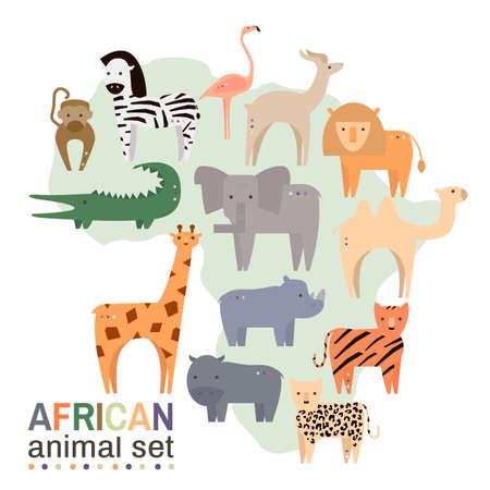 lynx: African animals in geometric flat style. Hippo, giraffe, flamingo, elephant, lion, monkey, giraffe, rhino, zebra,crocodile, lynx,gazelle, rhinoceros isolated on white.