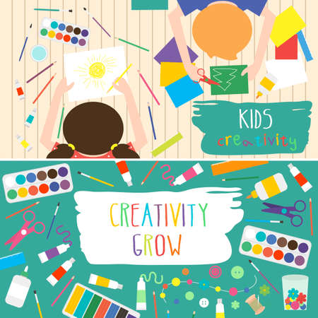 Kids Art-working process. Kids creativity illustration. Top view with creative kids hands. Banner, for kids art lessons or school.