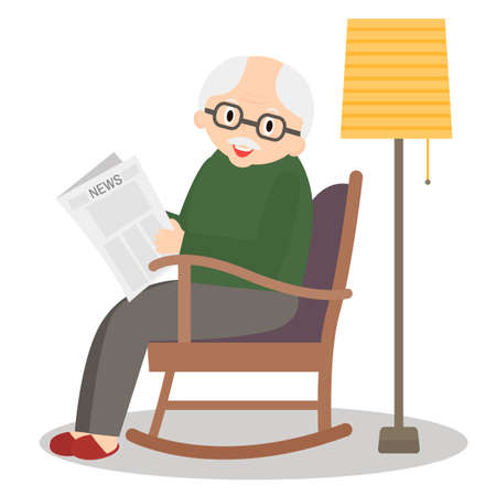 chair cartoon: Grandfather sitting in rocking chair. Old man leisure time. Grandpa reading newspaper. Cute senior man at home.