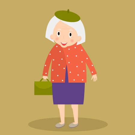 older woman smiling: Old woman walking with bag. Grandmother. Cute senior lady walking.