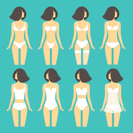 underlinen: Young woman in different types of lingerie. Illustration