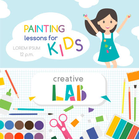 Painting lessons. Top view on art-working process.  Kids creativity Lab. Banner, for kids art lessons or school.