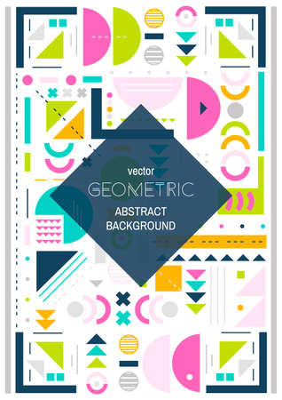 confines: Modern background line art.  Abstract geometric colorful background.  Cover design. A4 size.