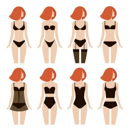 brassiere: Young woman in different types of lingerie. Illustration