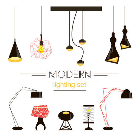Modern light collection isolated on white. Home furniture.